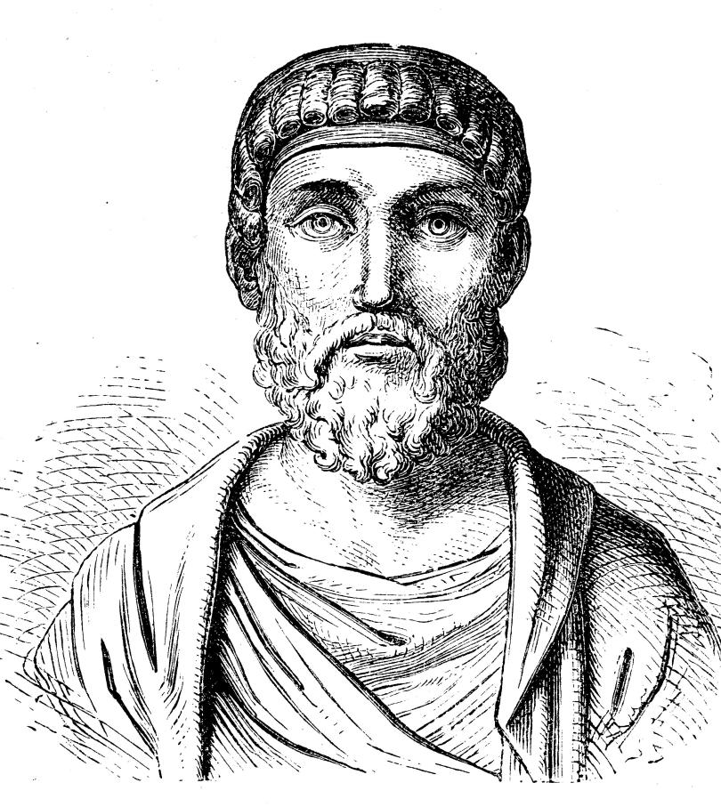 Black and white image of a Roman emperor.