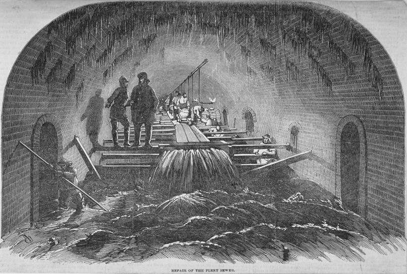 A drawing of a repair to the Fleet sewer beneath London, 1854.