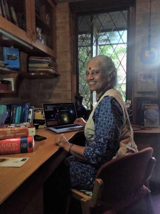 Prajval Shastri sitting at her desk