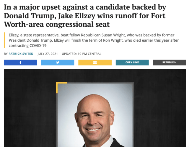 A newspaper headline that reads 'In a major upset against a candidate backed by Donald Trump, Jake Ellzey wins runoff for Fort Worth-area congressional seat.'