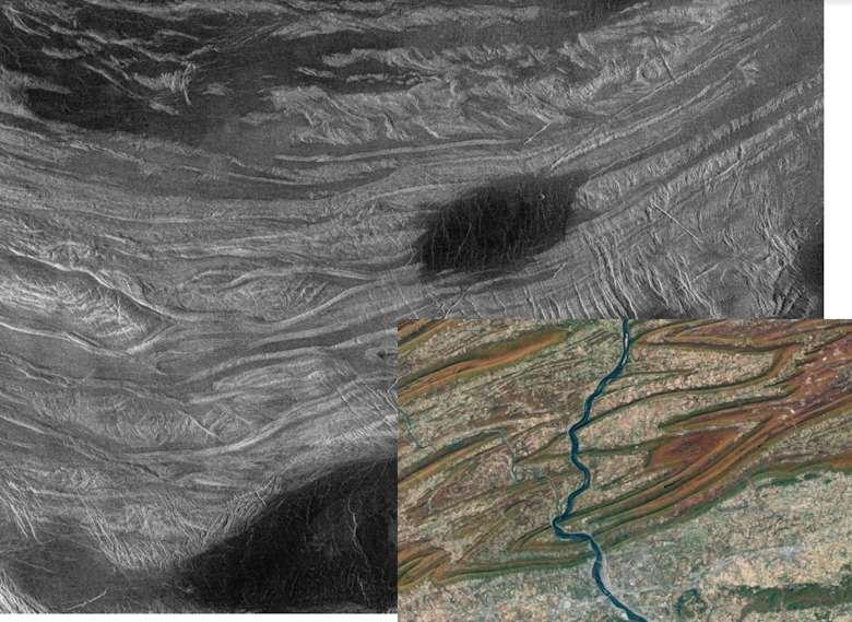 Imagen de las montañas plegadas de Venus.