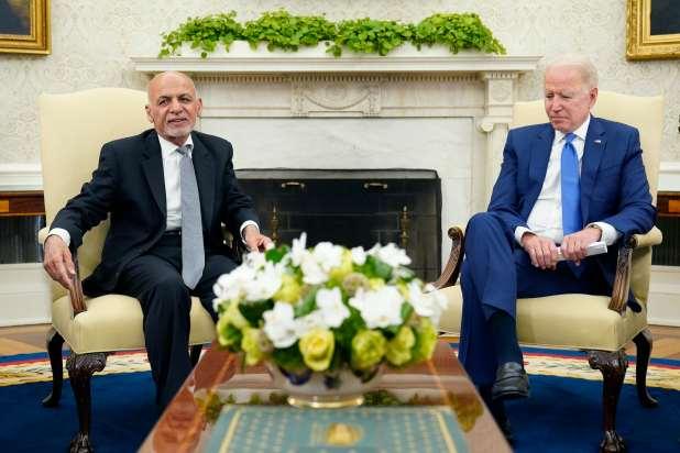 President Joe Biden meeting with Afghan President Ashraf Ghani.