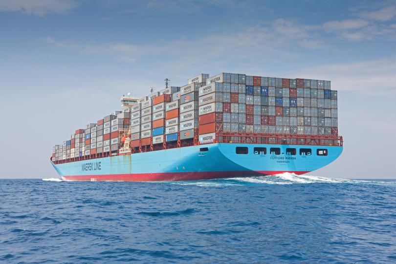 A Maersk container ship on the high seas