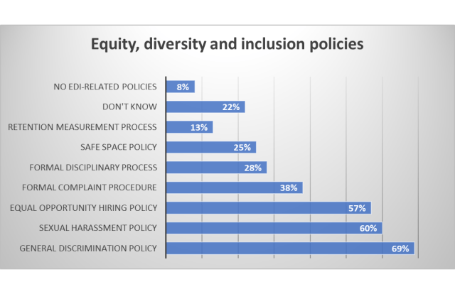 Bar graph of equity, diversity and inclusion policies in place at game studios