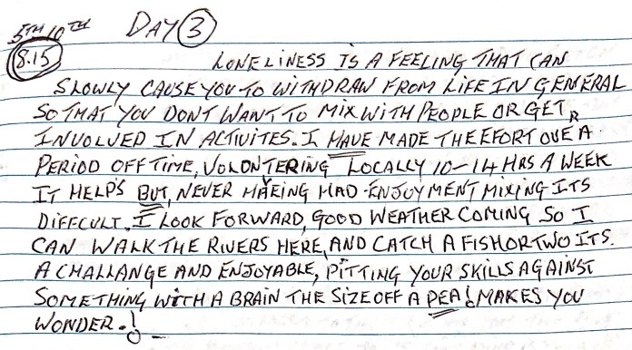 A diary entry from Vincent.