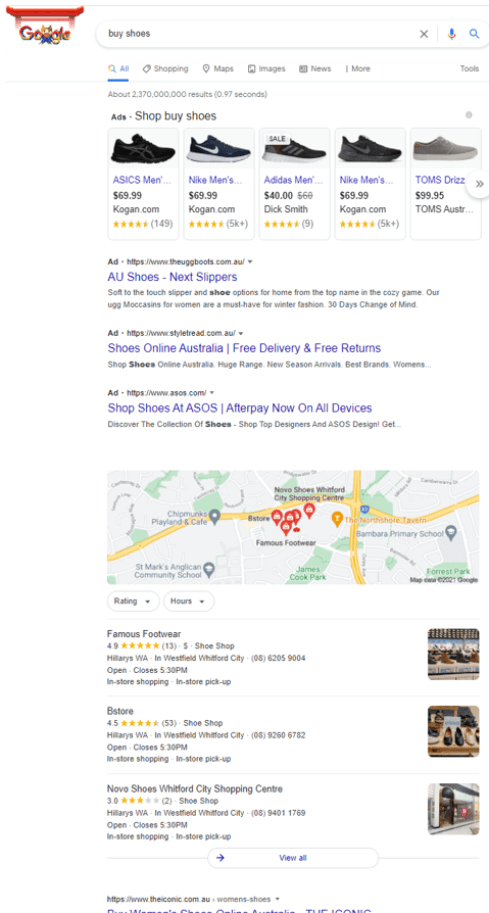 In a simple Google search (for 'buy shoes'), you have to scroll a long way to find the results. Author provided