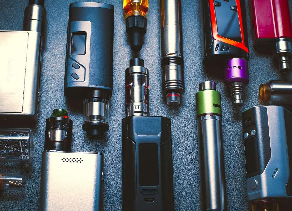 An assortment of different e-cigarettes/ vape pens.