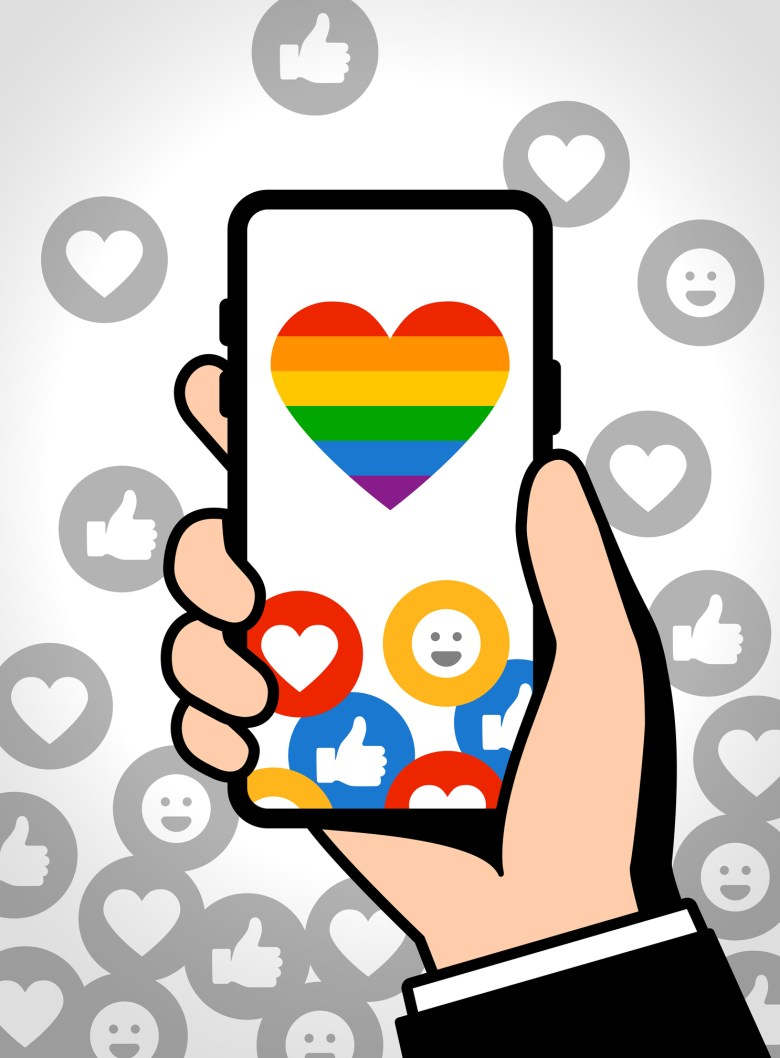 Illustration phone with rainbow heart on the screen, surrounded by positive reaction symbols.