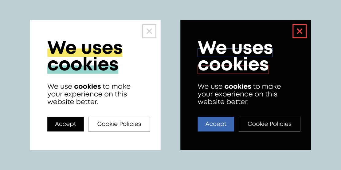 Two template cookie banners