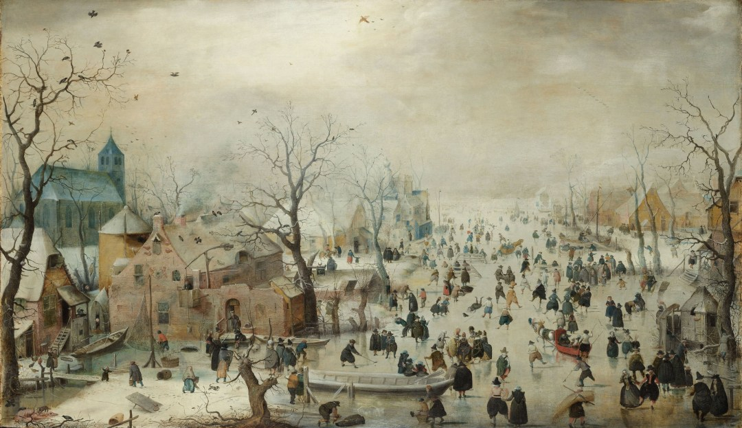 Winter Landscape with Ice Skaters, a painting by Durch artist Hendrick Avercamp (circa 1608).
