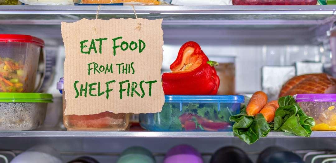 fridge shelf with sign