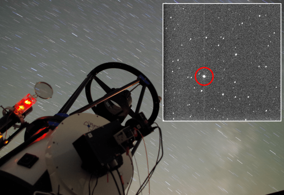 telescope pointed at starry sky, and inset image of distant galaxy