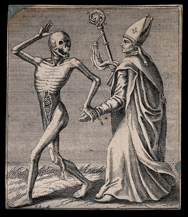 skeleton takes the hand of a bishop in an etching