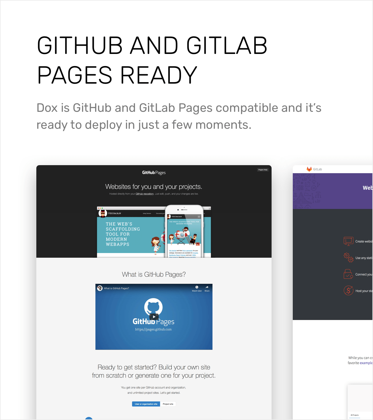 GitHub and GitLab Pages ready