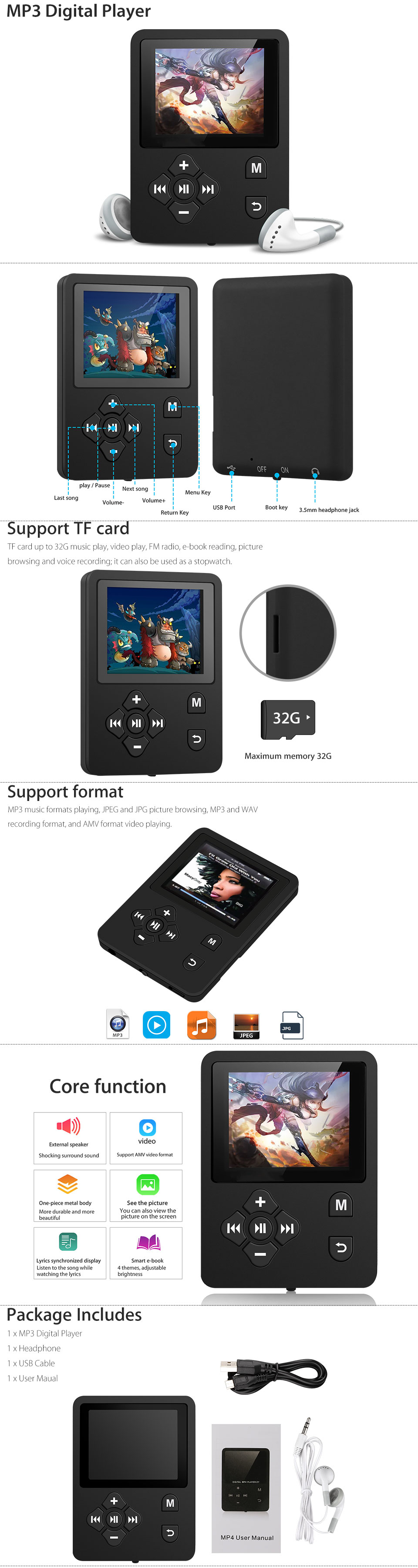 HiFi MP3 MP4 Player Color Screen FM Radio Lossless Sound Sound Voice Record