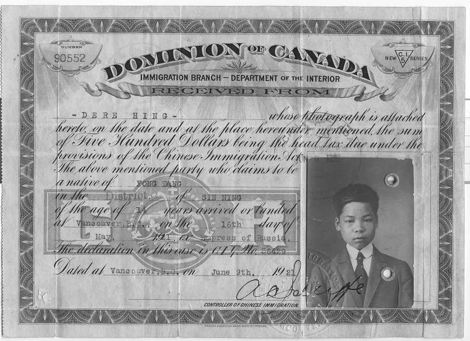getimagecontentb2rudqeo 0 - Writing the history of Chinese head-tax payers in Canada gives William Ging Wee Dere a sense of self-identity