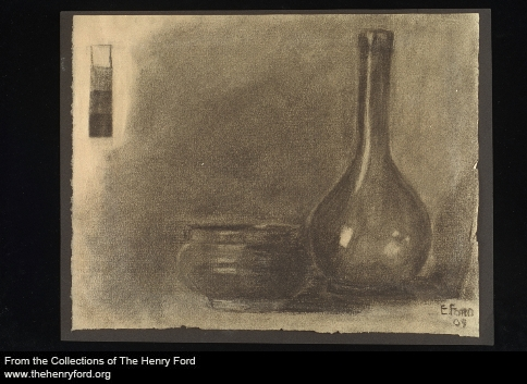Edsel had some training as an artist. Here's a charcoal sketch he did as a teenager.