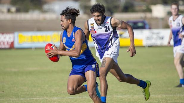 Ex-Docker Josh Simpson playing country football in Geraldton.