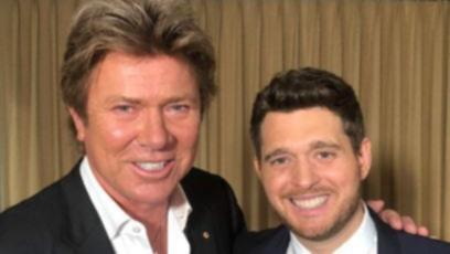 Former Today show entertainment reporter Richard Wilkins with Michael Buble.