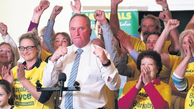 Barnaby Joyce is giving rivals a hiding across the New England seat.