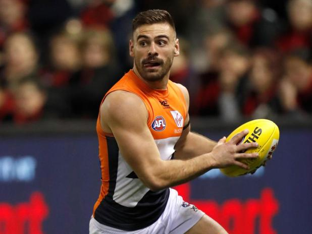 Stephen Coniglio of the Giants in action during the 2019 AFL round 15 match between the Essendon Bombers and the GWS Giants at Marvel Stadium on June 27, 2019 in Melbourne, Australia.