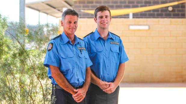 A new cohort of officers were sworn in at Eastern Goldfields Regional Prison on Thursday. Pictured are Dave Shilton and his son Braden Shilton, who are both new recruits.