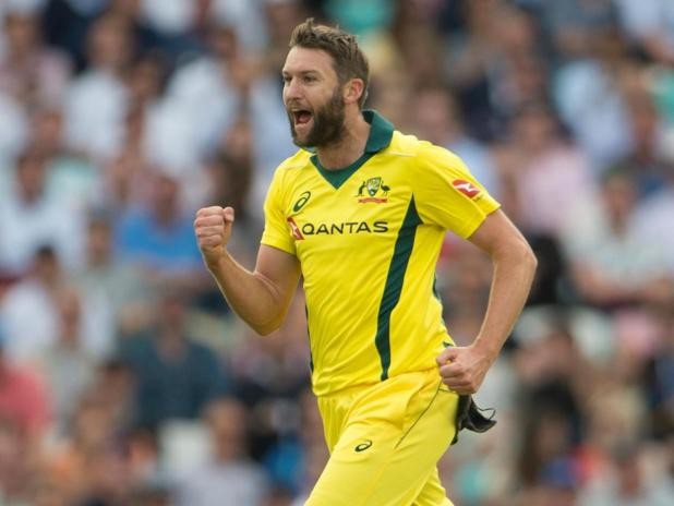 Andrew Tye of Australia celebrates taking the wicket of Eoin Morgan of Australia during the 1st Royal London ODI between England and Australia.