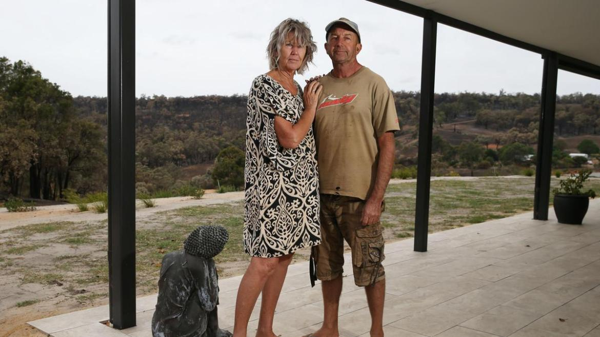 Keith and Michelle Caie who stayed to defend and saved their home on MayoStreet in Gidgegannup.