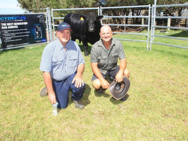 With the $16,000 second top-priced Angus bull, Tullibardine Quartermaine Q43, was Tullibardine stud co-principal Alastair Murray, and buyer Luke Gatti, of Albany.