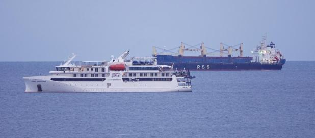 Raring to go. Coral Adventurer off the coast at Cottesloe on Tuesday morning.