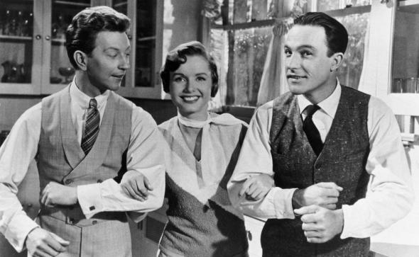 Donald O'Connor, Debbie Reynolds and Gene Kelly in the film Singin' in the Rain.