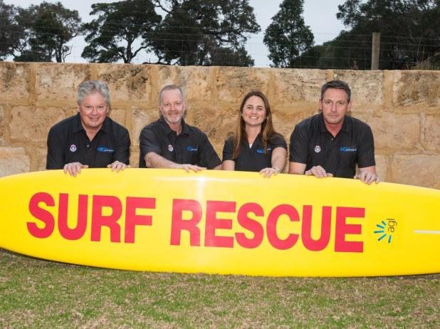Smiths Beach SLSC members Ray McMillan, David Russell, Carrie Davis and president Keith Warrick.