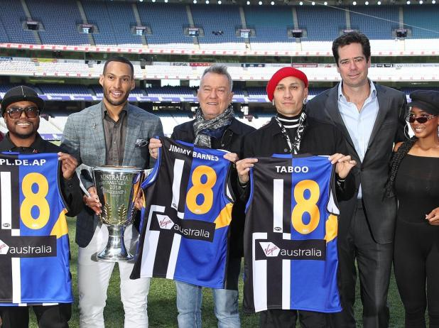 apl.de.ap, Jessica Reynoso and Taboo of The Black Eyed Peas along with 2018 AFL Premiership Cup ambassador Josh Gibson, Gillon McLachlan, Chief Executive Officer of the AFL and Jimmy Barnes.