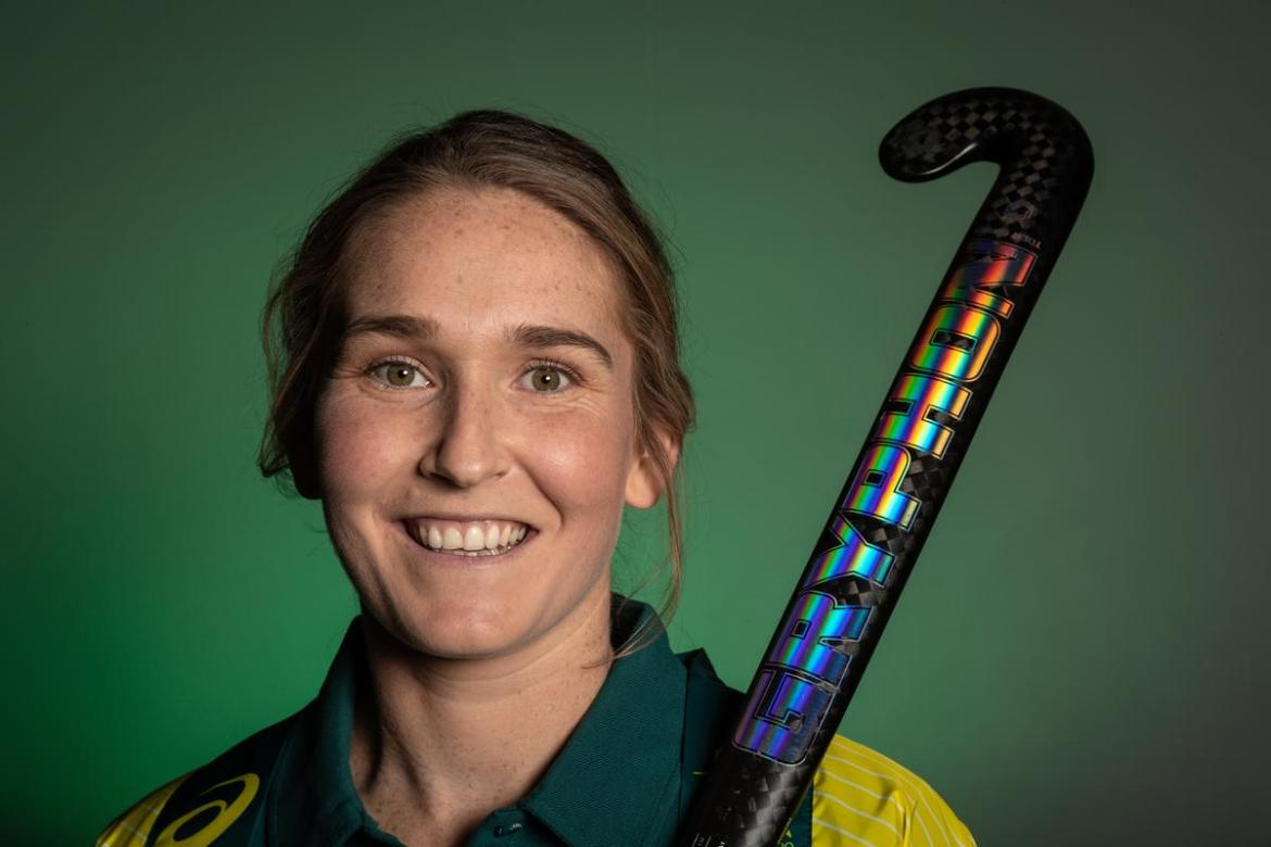 Hockeyroos player Penny Squibb poses for a photograph during an announcement of the Tokyo 2020 Team in Hockey, at the Western Australian Institute of Sport (WAIS), in Perth, Monday, June 14, 2021. (AAP Image/Richard Wainwright) NO ARCHIVING