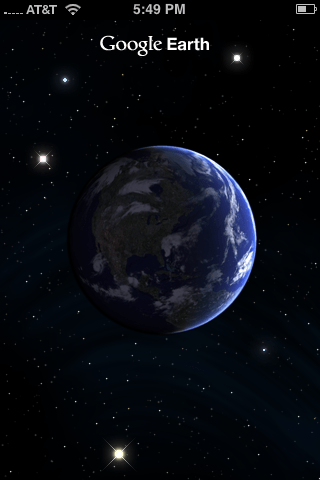 Opening Screen of Google Earth for the iPhone