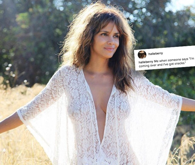 Halle Berry Posts Topless Pic But Only For Snacks