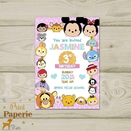 undangan ulang tahun birthday invitation disney tsum tsum di print paperie tokopedia