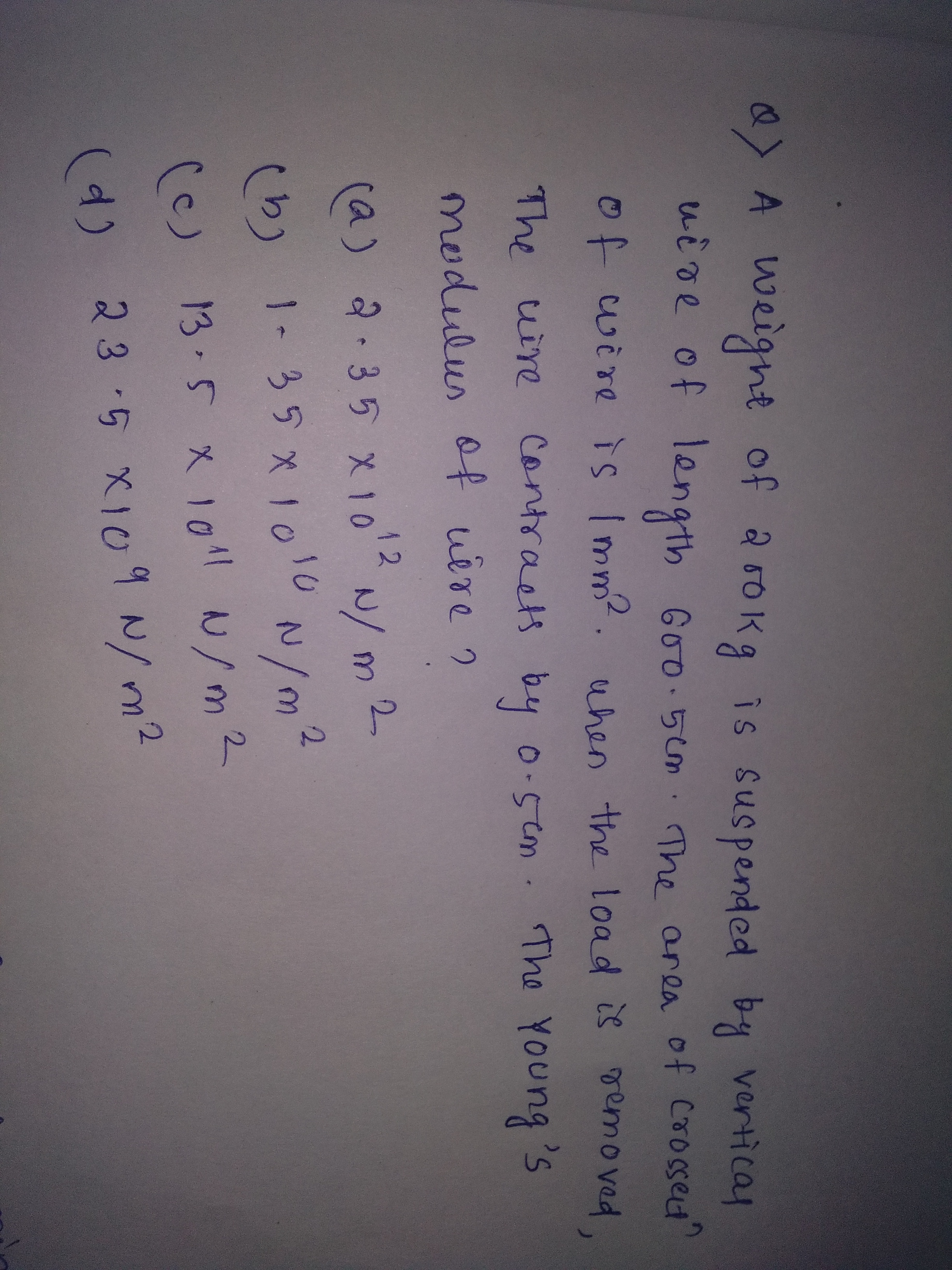 Youngs Modulus Questions And Answers