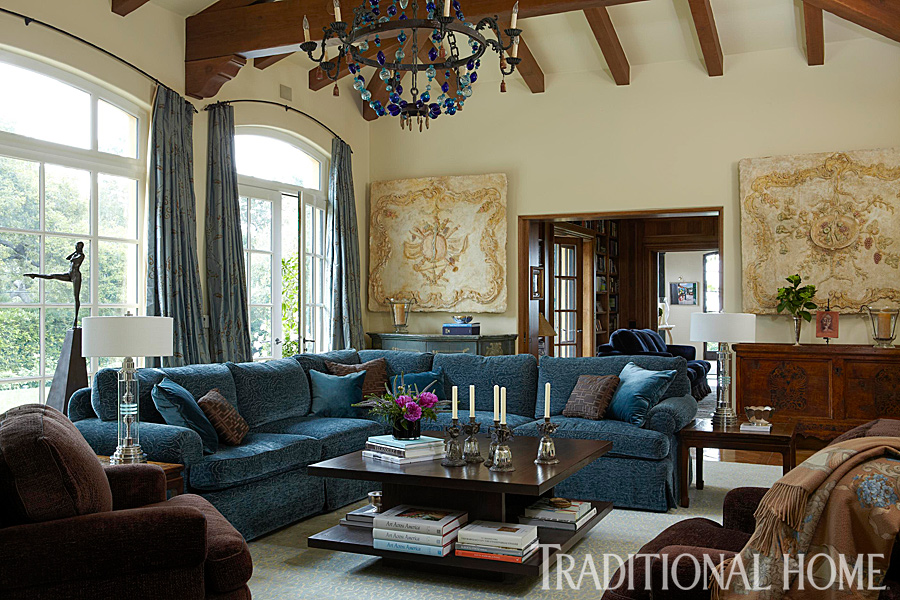 Brilliant Blue and Brown   Traditional Home   ENLARGE  Dominique Vorillon  Grand Living Room  A blue bauble