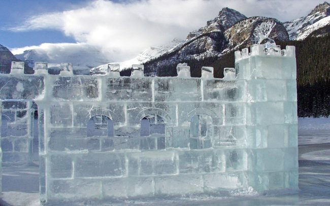 Ice carving in Lake Louise