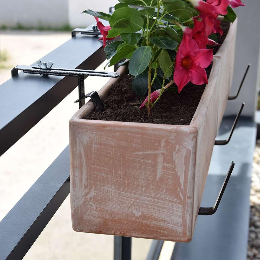 support jardiniere a fixations reglables en metal gris 40 80 cm