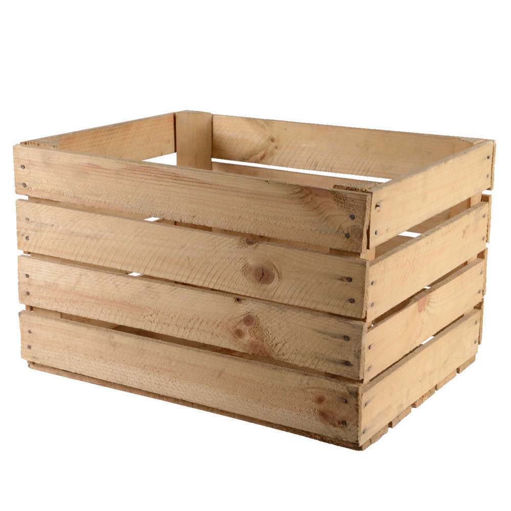 caisse de pommes en bois utilise naturel 40x50x30cm