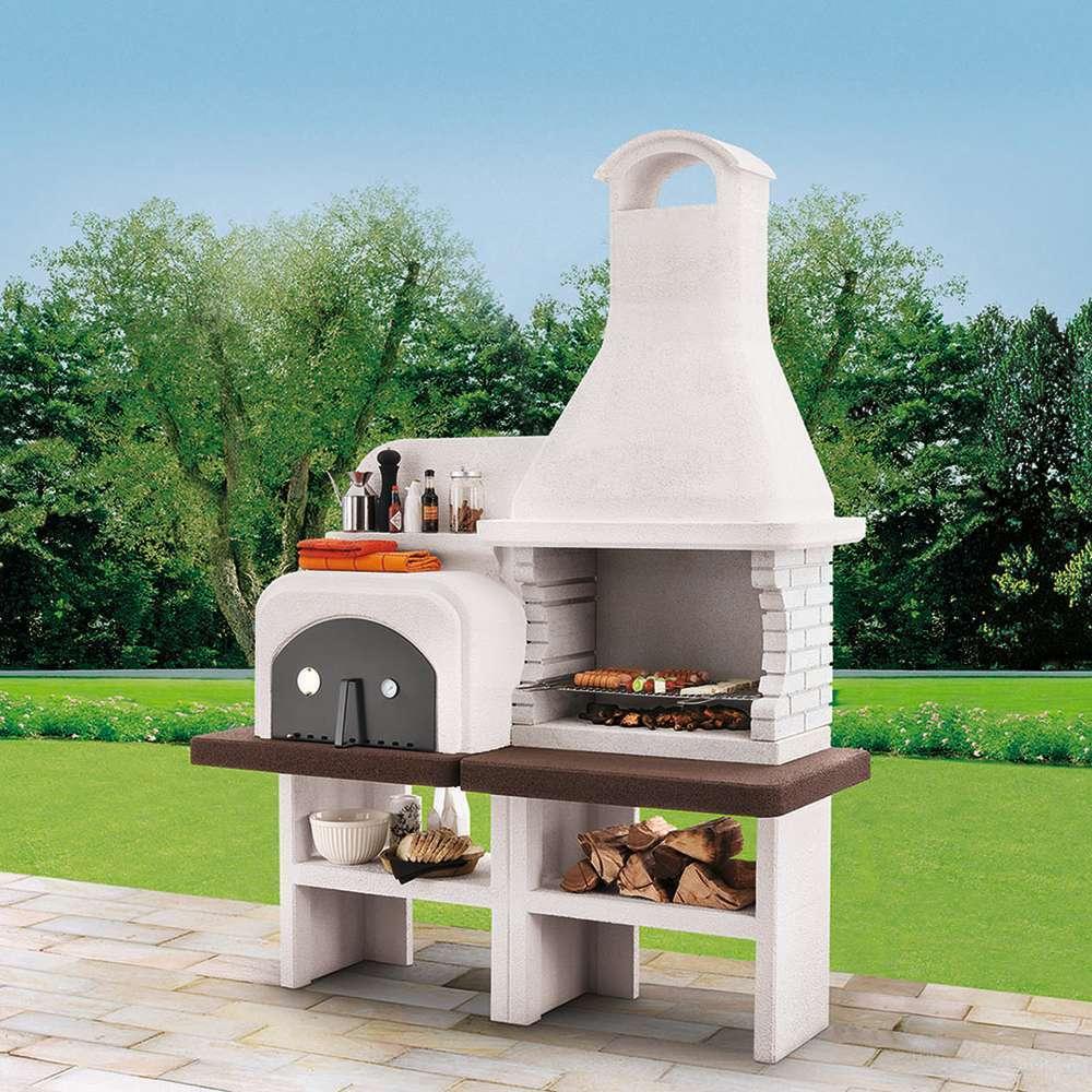 barbecue bois charbon grado marmotech avec four l 184 l 78 h 246 cm