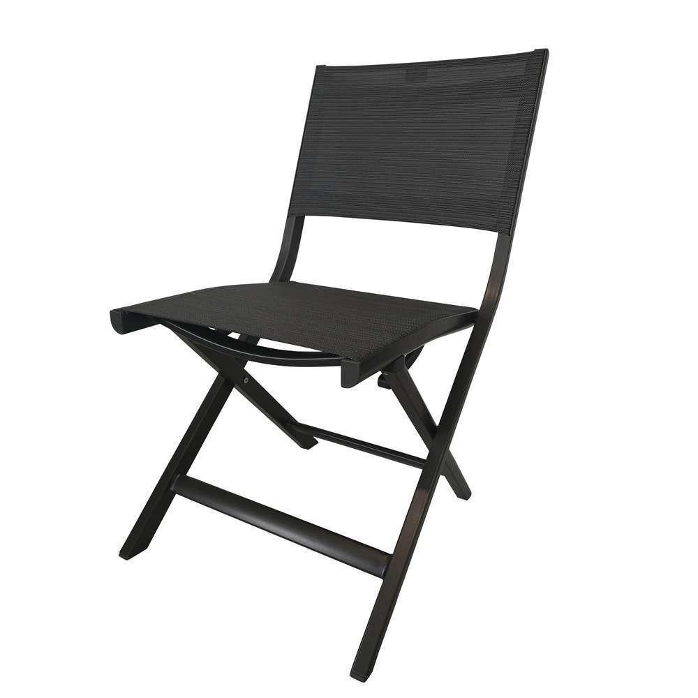 chaise pliante nils pietement alu anthracite textilene carbone
