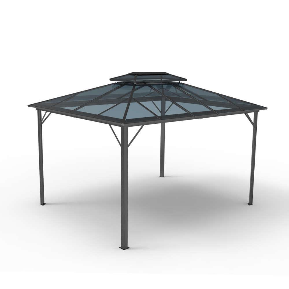 tonnelle windsor en aluminium avec double toits en polycarbonate