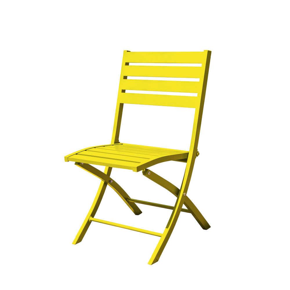 chaise pliante marius en aluminium jaune truffaut