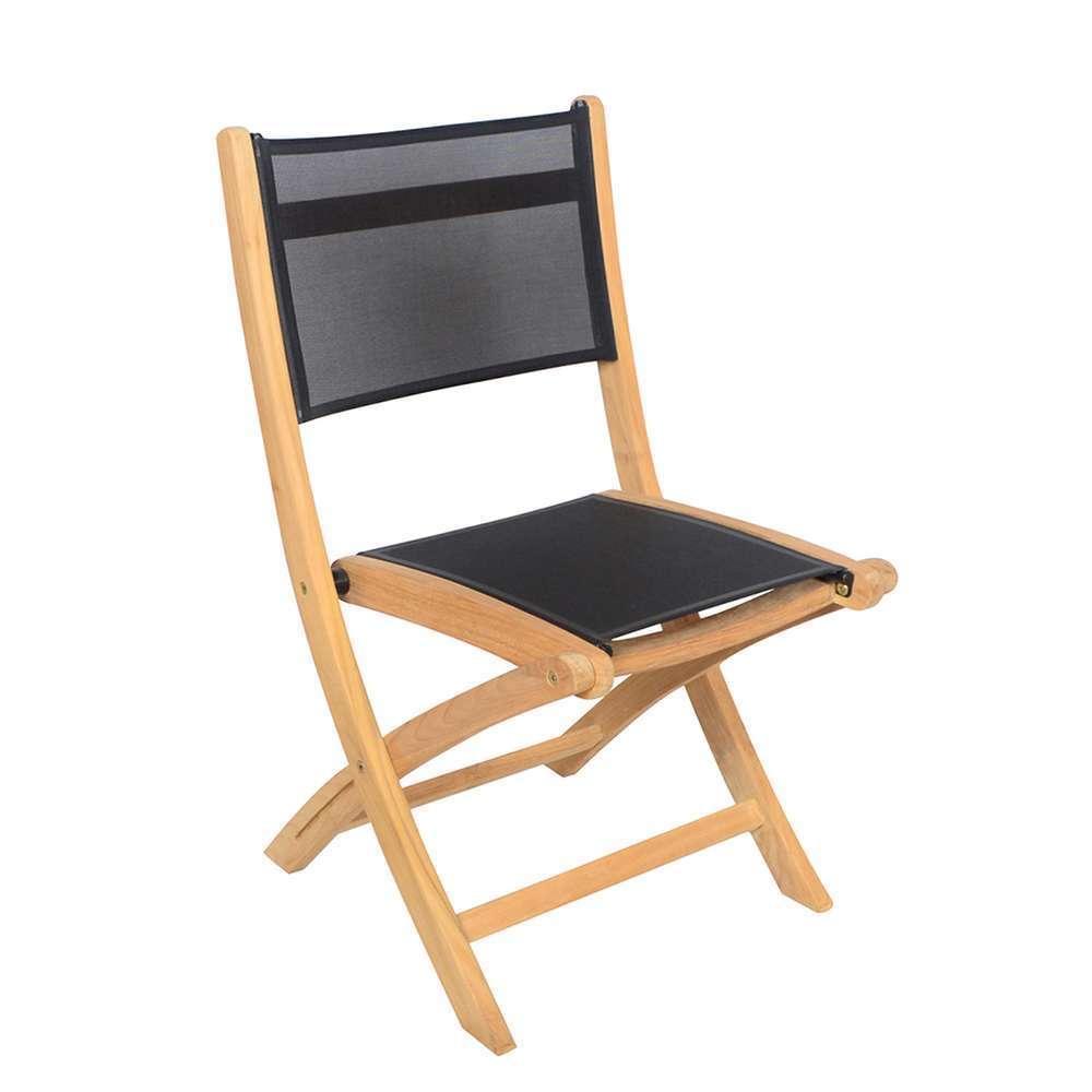 2 chaises pliantes navy teck et toile noire 50 x 57 5 x h87 cm