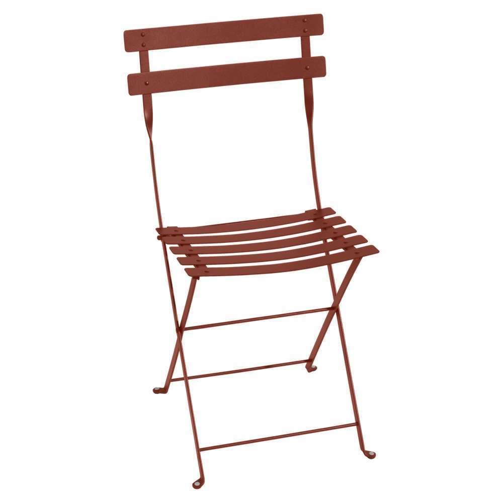 chaise bistro pliante ocre rouge