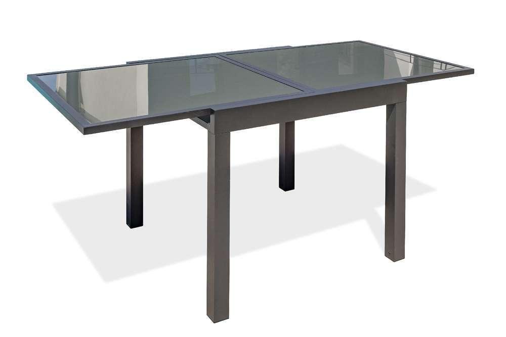 table tolede 90 180x90 cm avec rallonge integree en aluminium et verre
