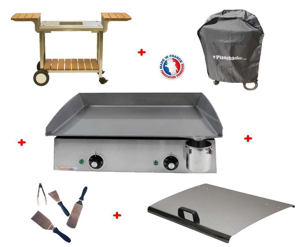 pack plancha lux 600 inox chariot bois